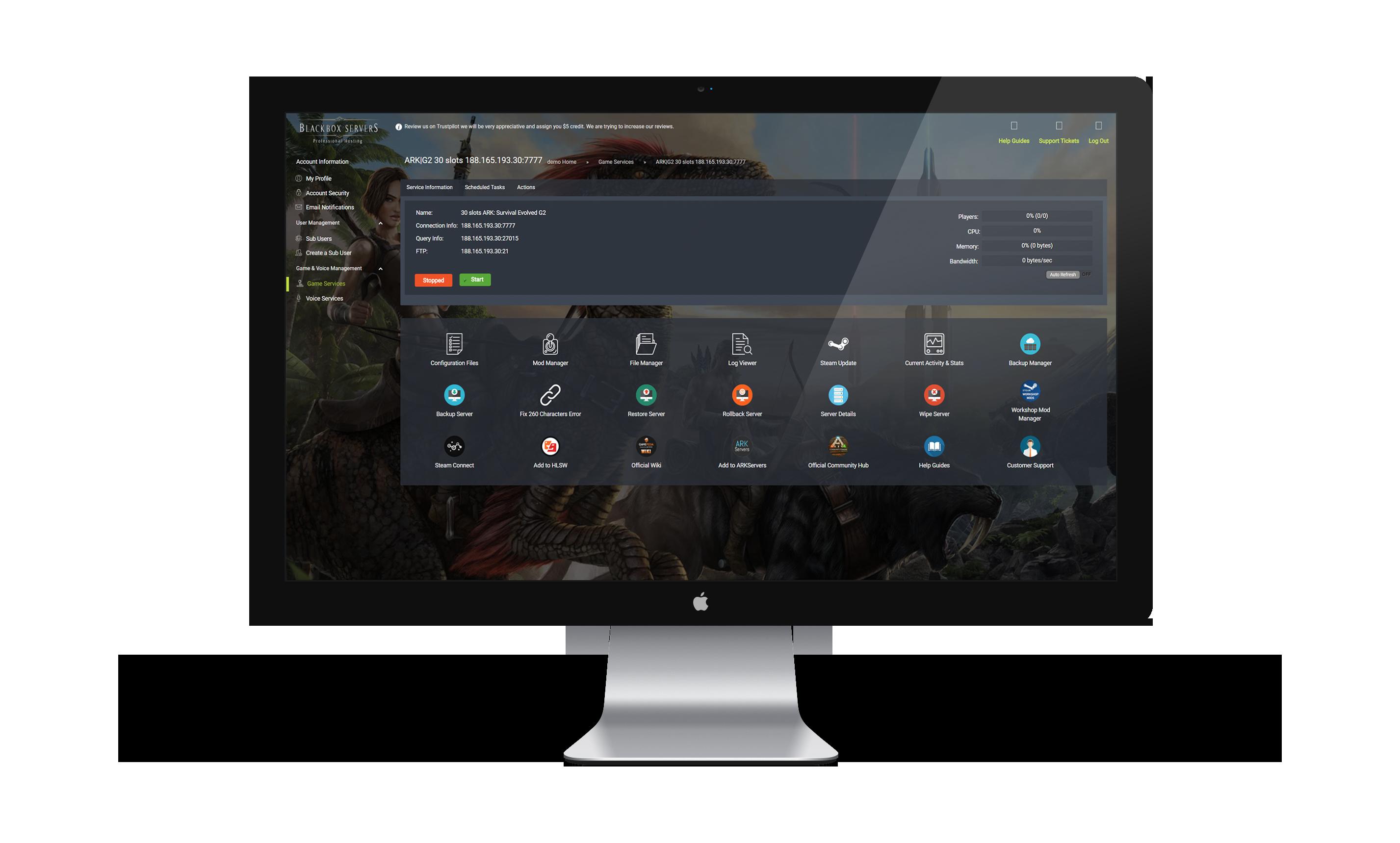 blackbox control panel screen